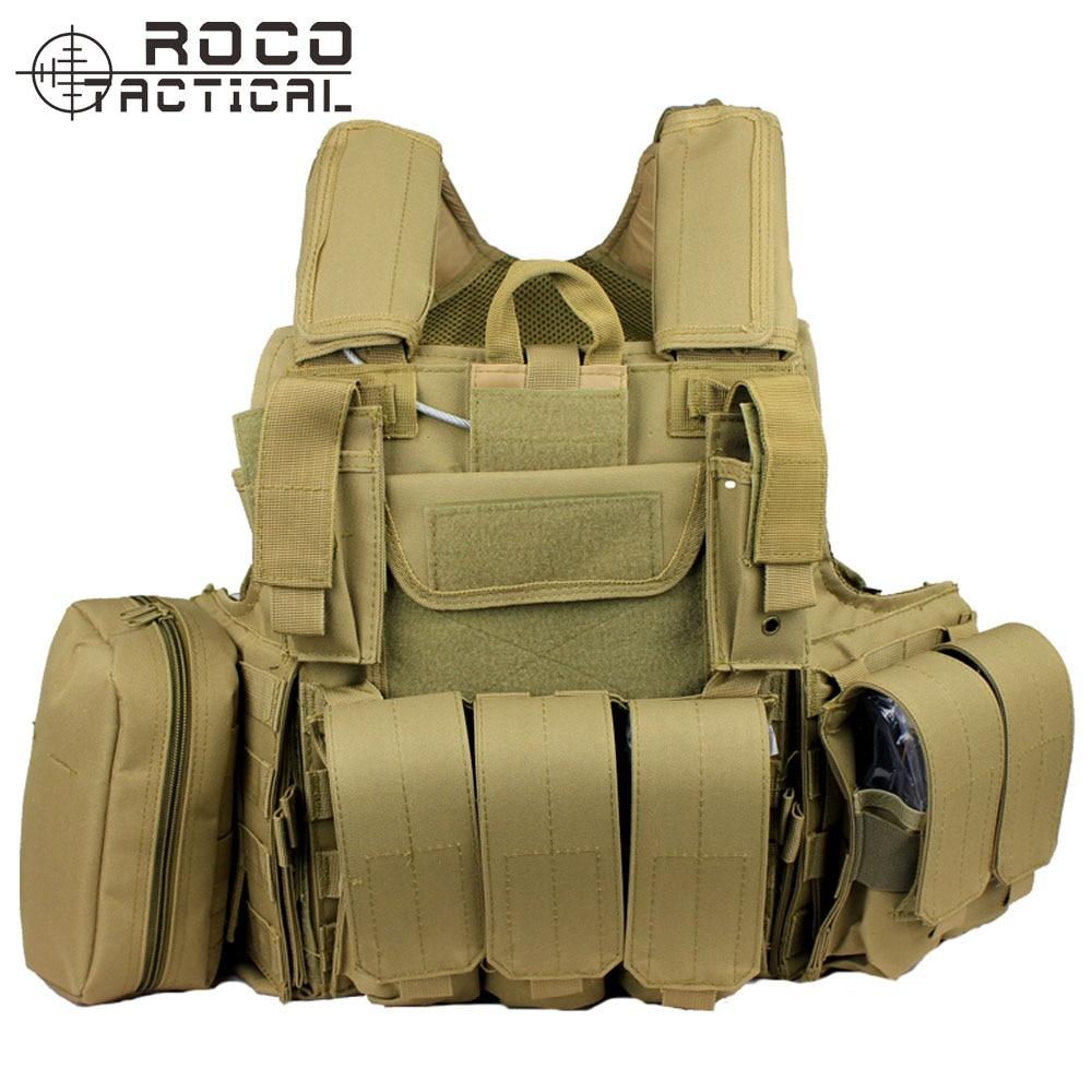 ROCOTACTICAL Airsoft Ciras Tactical Vest Ciras Assault Vest Ballistic Plate Carrier MOLLE Combat Vest W/Triple Magazine Pouch CP