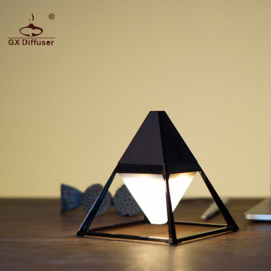 US $27 28 22% OFF|GX Diffuser New Pyramid USB Table Lamp Modern Touch For  Bedroom Frosted Plastic Lampshade Dimmer Reading Desk Lamp Decoration-in  LED