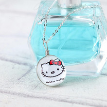 Hello Kitty Clover Flag Pendant Crystal Glass Ball Necklace Long Chains Silver Plated Pendants&Necklaces for Women Gift Jewelry(China (Mainland))