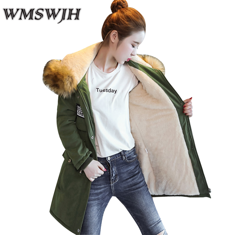 M-4XL New Fashion Women Winter Cotton Jacket Hooded Fur collar Thickening Warm Coat Big yards Slim Long parkas Outerwear WS330