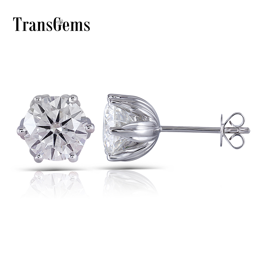 Transgems Flower Shaped Solid 14K 585 White Gold 4CTW 8mm FG Color Clear Moissanite Stud Earring