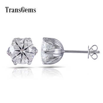 Transgems Flower Shaped Solid 14K 585 White Gold 4CTW 8mm FG Color Clear Moissanite Stud Earring Push Back for Women Wedding - DISCOUNT ITEM  5% OFF All Category