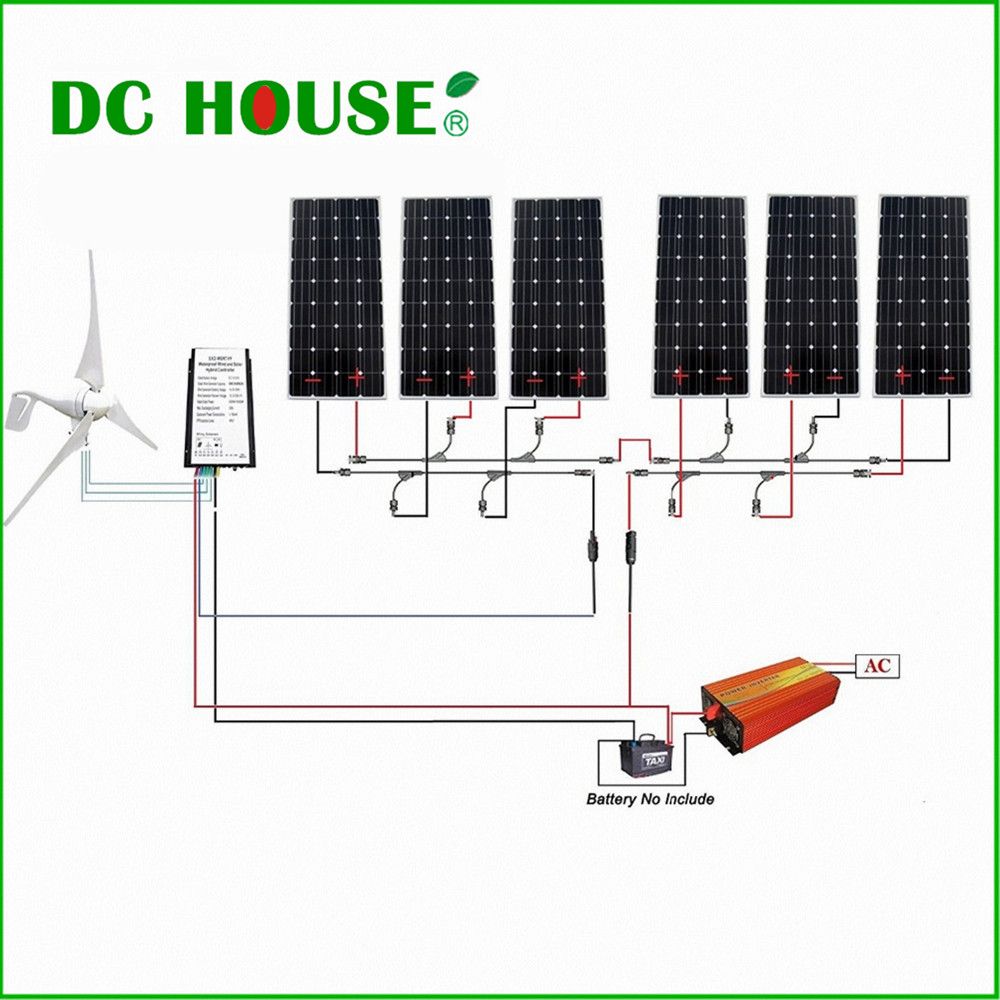 1.3KW kit:400W Wind Turbine Generator & 6*160W Mono Solar Panel & 1500W Inverter usa stock 880w hybrid kit 400w wind turbine generator
