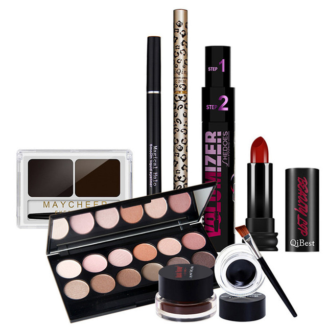 New Women 12 color eyeshadow  + double color eyeliner + Eyeliner + eyebrow pencil + Mascara + Lipstick  Professional Makeup Sets