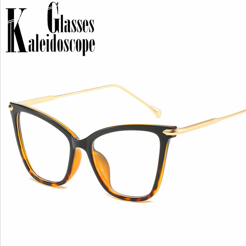 Sexy Cat Eye Glasses Frames Women Oversized Optical  Eyeglasses Fashion Metal Frame Myopia Prescription Eyewear Computer Glasses