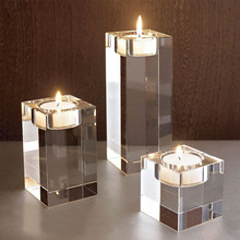 Clear Crystal Cube Glass Candle Holder Stand Candlestick Table Centerpieces