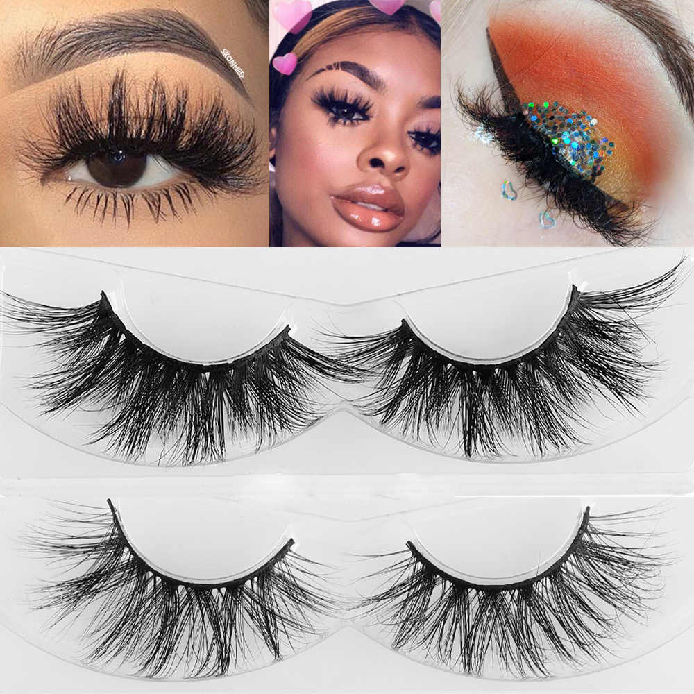 c283f5e9c3a 1Pair 100% 3D Mink Hair False Eyelashes Wispy Fluffy Multilayers Lashes  Handmade Thick Volume Long