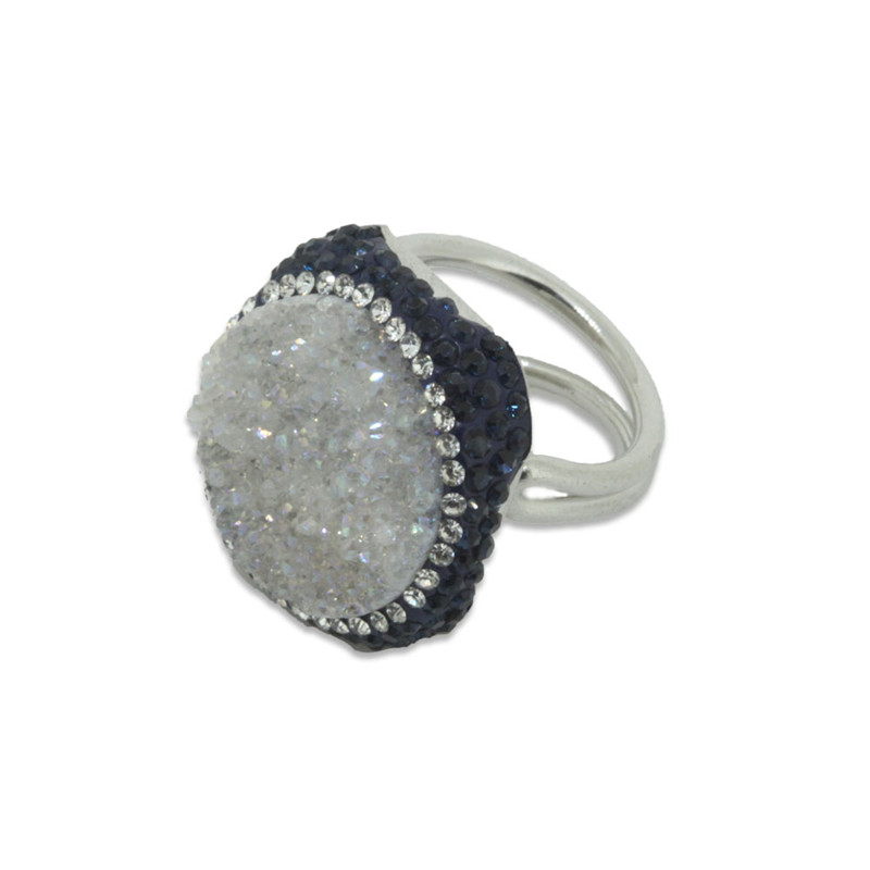 Silver Plated White Druzy Drusy Stone Ring Round Geode onyx Pave Black Crystal Rhinestone Beads Women Fashion Ring