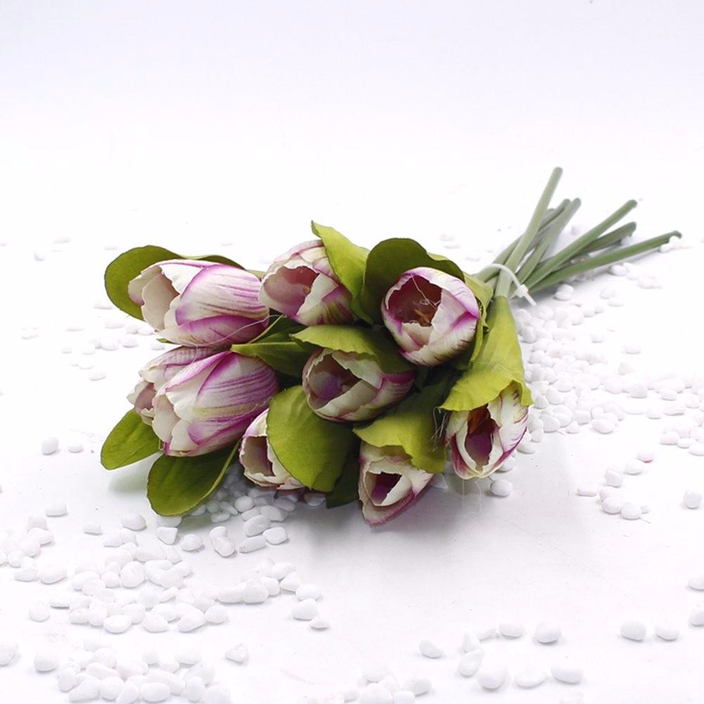 Mẫu hoa Tulip giả M-172 màu Tím Trắng