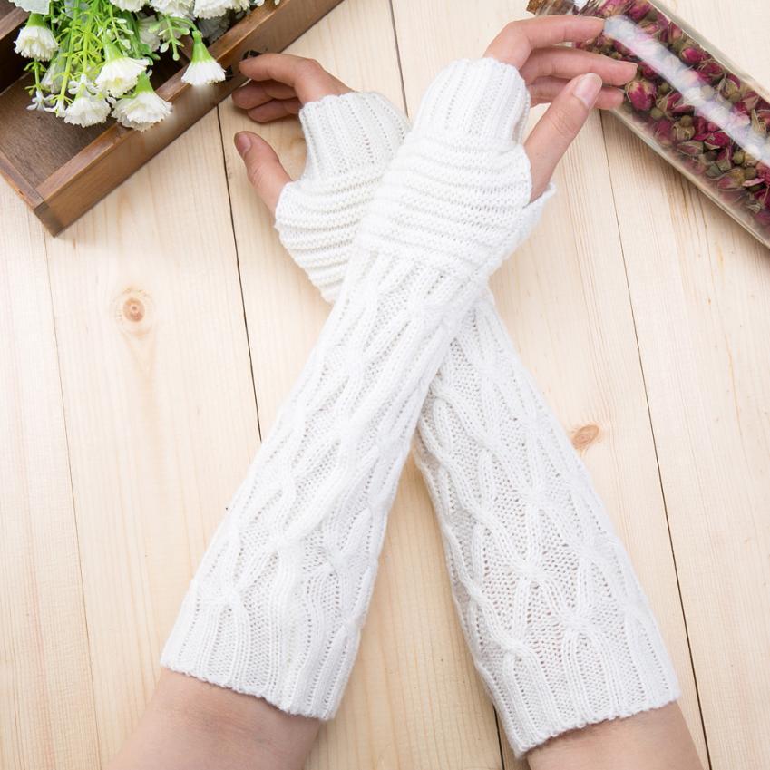 Moda mujer invierno muñeca calentador de brazo tejido guantes largos ...