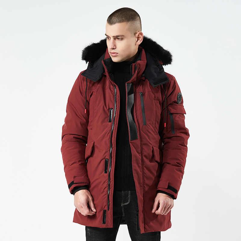 パッド入り 2019 新大型サイズ暖かい生き抜く冬ジャケット防風パーカーフードブランド服メンズウインドブレーカー