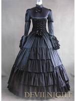 Black Ruffle and Bow Masquerade Gothic Ball Gowns Eastlake Antique Victorian Dresser