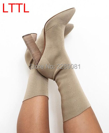 Kim Kardashian Stylish Women Desert Color and Dark Green Short Stretch Knit BootsTightening Pointed Toe Fashion Booties