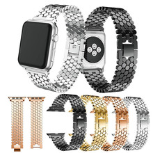 New Fish Scale Metal Strap For iwatch 38mm 42mm Solid Chain Stainless Steel Loop Link with Buckle Clip for Apple Watch 1 2 3 IWO