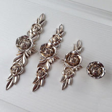 Antique silver Rose Shabby Chic Dresser Pulls Drawer Pulls Handles / Flower Cabinet Door Handle Pull Knobs / Furniture Hardware 3 75 5 6 3 dresser drawer handles pulls knobs silver white gold cabinet pulls shabby chic door handle hardware 96 128 160