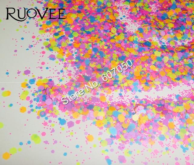 017 # néon hexagone formes ongles résistant aux solvants paillettes pour acrylique ongles Gel vernis décoration bricolage poudre