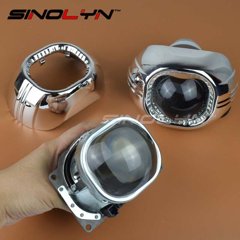 SINOLYN 3.0 inch Q5 Square Bi-xenon Lens Projector HID Headlight Metal Headlamp Lenses H4,Use D2S D2H Bulbs Car External Lights 2 5 mini bi xenon projector lens can use with d2s d2h hid xenon bulb for h4 car headlamp easy install