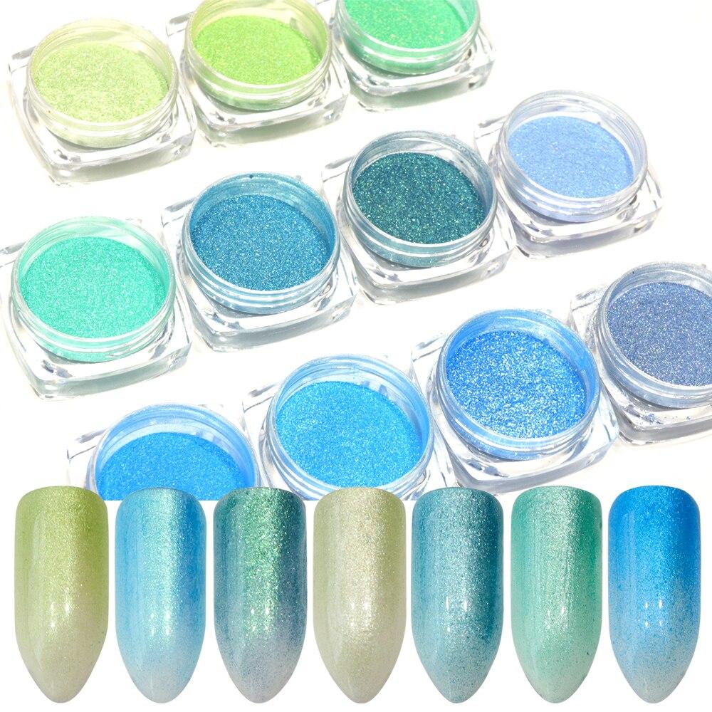 11pcs Gradient Nail Powder Shimmer Pigment Nail