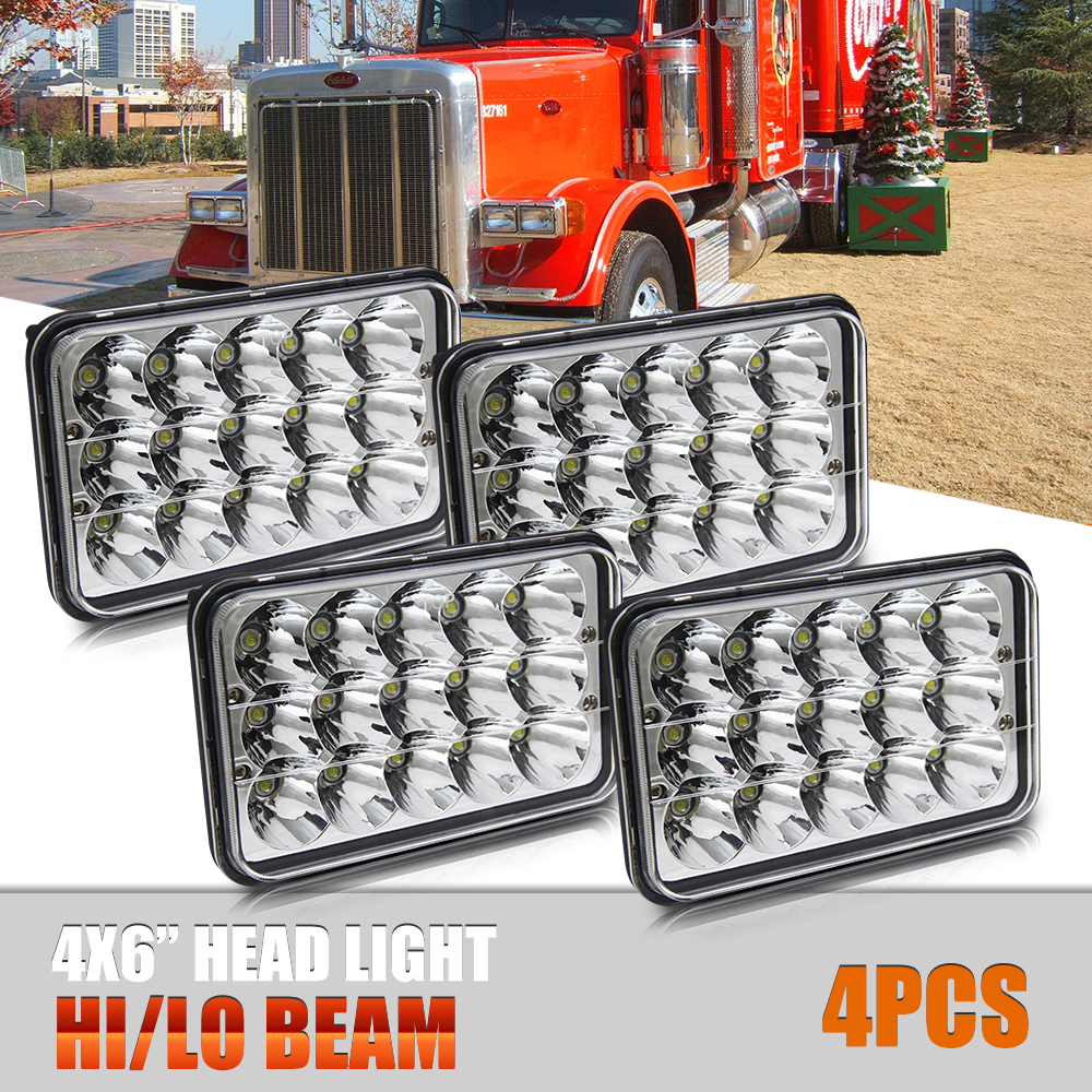 4PCS 4X6'' 45W Led Headlight High Low 18W Sealed fit for Kenworth Peterbilt Daf Foden FREIGHTLINER GMC Chevrolet Truck co light 1 pair led headlight 4x6 45w high low fog lamp for kenworth gmc chevrolet ford jeep lada niva 4x4 offroad 9 32v 3000k