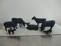 super mini 1:87 pvc figure Black cow and calf 7pcs/set