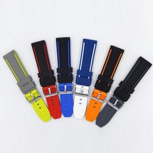 20mm 22mm 24mm 26mm Soft Rubber Sport Watchbands Diver Waterproof Silicone Watch Band Strap Double Colors Black Blue Red Orange high quality waterproof rubber silicone strap 22mm 24mm black men s watchbands for pam with original logo free shipping
