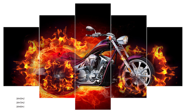 Ghost Rider Print 5 Panel Canvas Art Oil Painting Hd Large Home