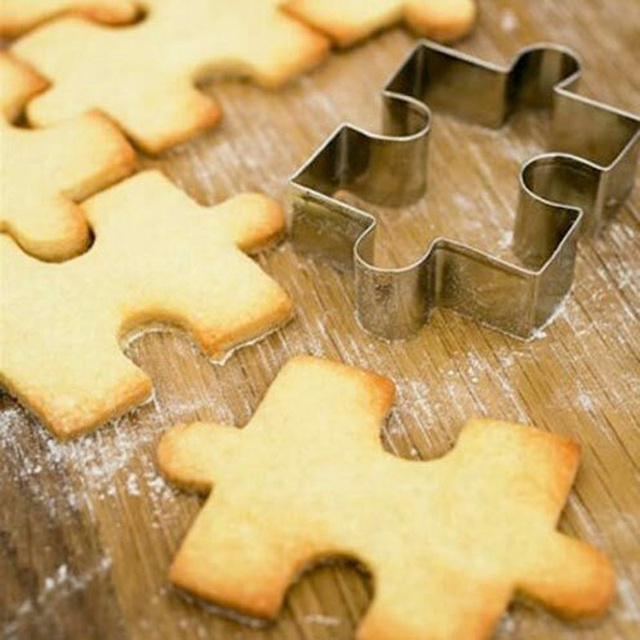 1Pcs Stainless Steel Cake Cookie Puzzle Shape Cookie Cutter Mold Cookie Tool 2
