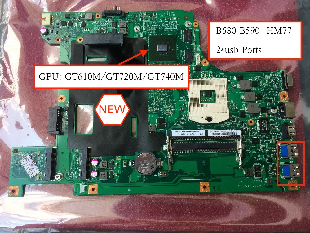 For Lenovo B590 b580 v580c Laptop motherboard GT610 GPU ( HM76 Support For Pentium I3 i5 i7 CPU ) image