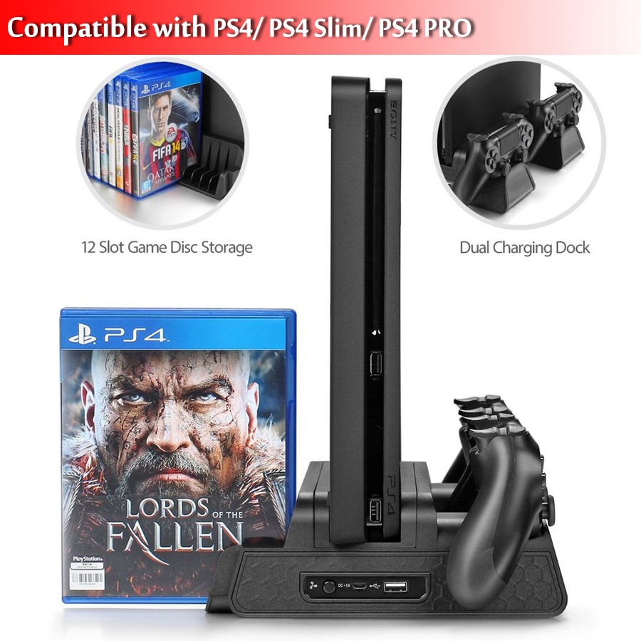 DOBE PS4/PS4 Slim/PS4 PRO Vertical Stand with Cooling Fan Cooler Dual Controller Charger Charging Station for SONY Playstation 4 цена и фото