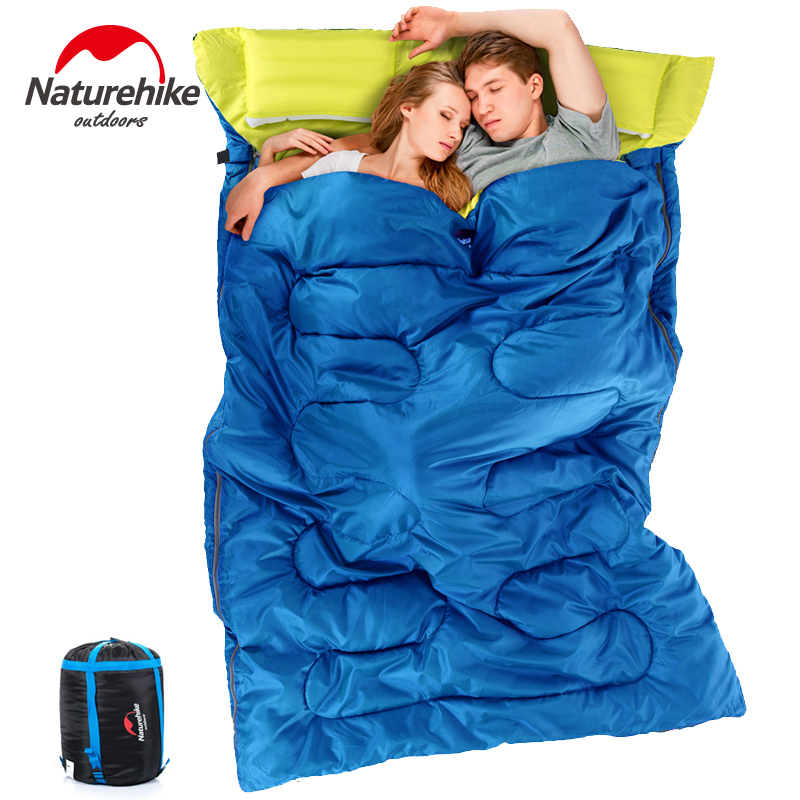 NatureHike Outdoor Envelope Sleeping Bag 2 Person Camping Hiking sleeping sack with Pillow Comfortable Warm Soft Couple fleabag outdoor portable insulated cooler picnic bag 4 person travelset with tableware lunch bag wine bag handle bag for camping hiking