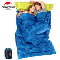 NatureHike Outdoor Envelope Sleeping Bag 2 Person Camping Hiking sleeping sack with Pillow Comfortable Warm Soft Couple fleabag