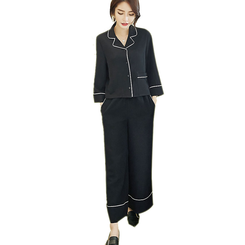 Real 2017 Spring Lazy Wind Suit Collar Shirt Retro Elegant Wide Leg Pants Women Leisure Office Lady Black And White Edge Suit