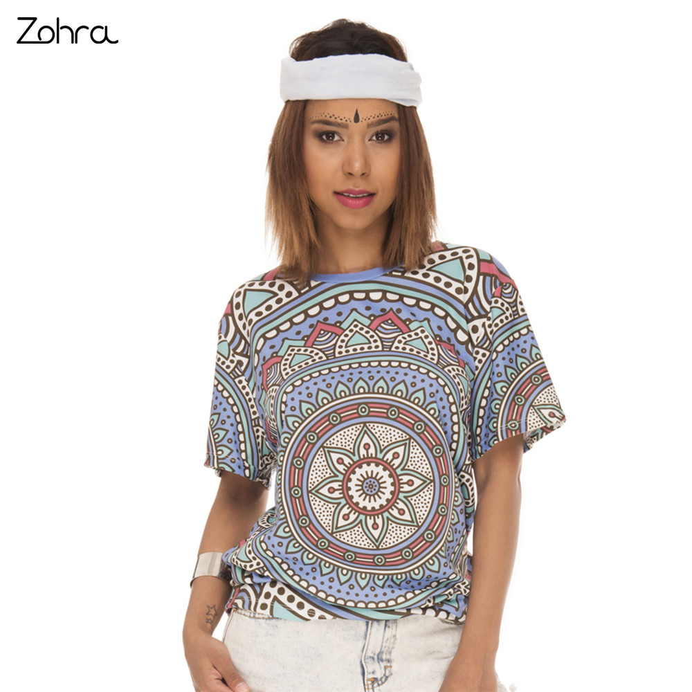 Zohra retro fashion women short sleeve t shirt mandala for Single print t shirt