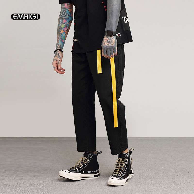 Men Zipper Pocket Hip Hop Casual Pant Male Dark Black High Street Fashion Harem Trousers Joggers