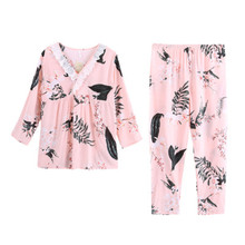 Sexy Lace Pajamas Set Flower Print Women 100% Cotton Pyjama