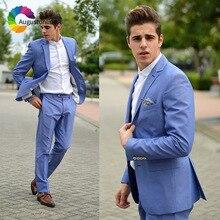 Blue Wedding Men Suits Slim Fit Groom Wear Tuxedos Prom Suits 2 Pieces (Jacket+Pants) Bridegroom Best Man Blazer Costume Homme beige slim fit wedding suits groom tuxedos 2 pieces jacket pants bridegroom men suits best man blazer prom wear