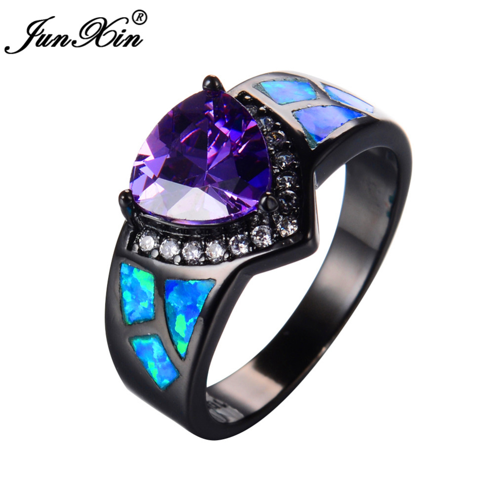 Junxin Female Girl Purple Ring Trangle Design Blue Fire Opal Ring Black  Gold Filled Promise Engagement