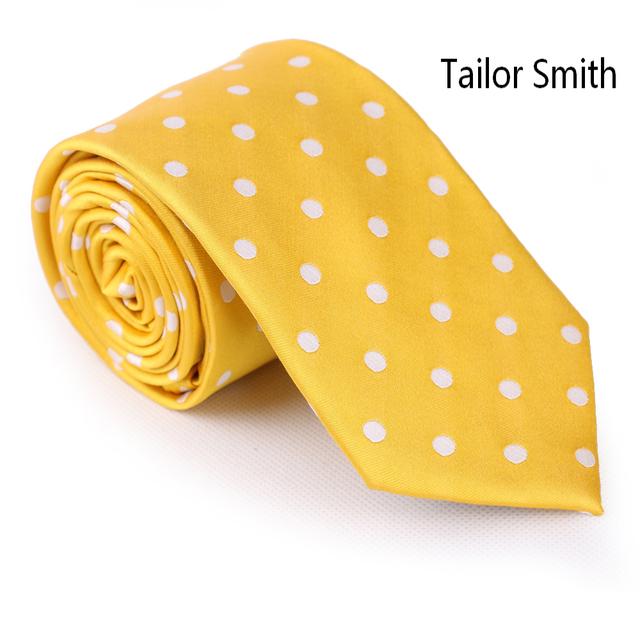 Smith a medida Para Hombre de La Moda Polka Dot Tie Corbata de Diseño de Seda Natural Puro Amarillo Clásico Vestido De Boda De Negocios Corbata de Lujo