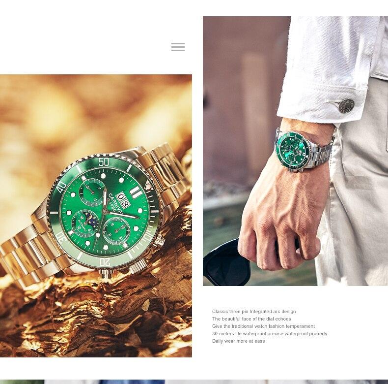 Multifunction esporte relógios homens carnaval grande dial