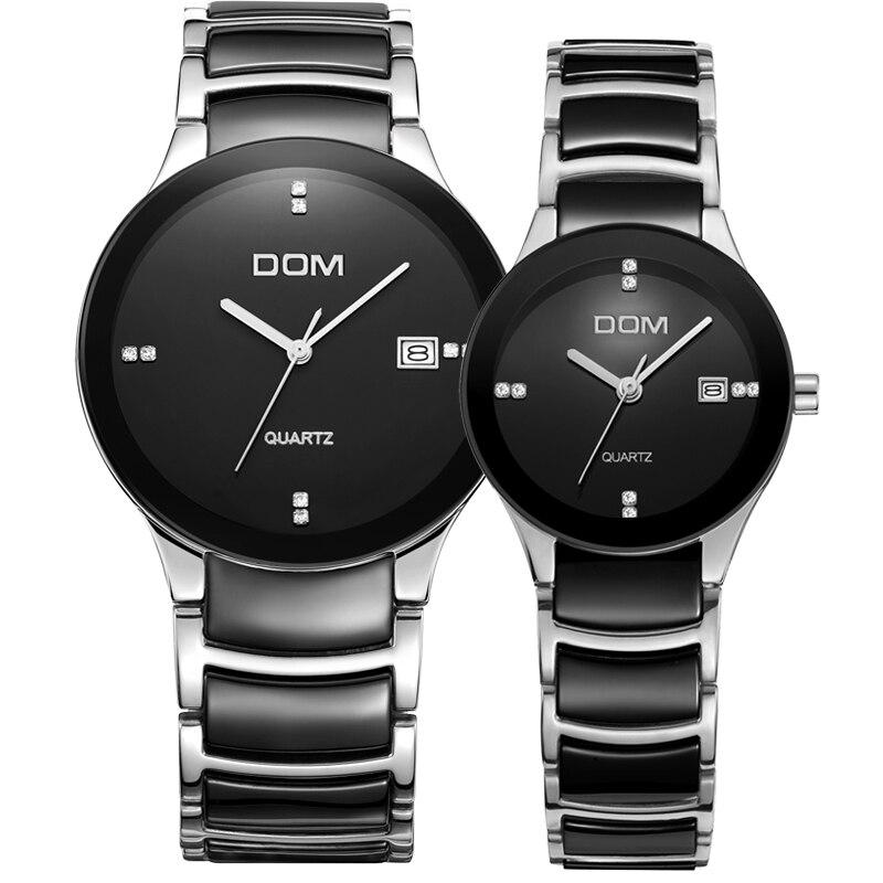 DOM lovers Women Watches Men Top Brand Famous 2016 Wristwatch Male Female Clock Quartz Wrist Watch Ceramic Quartz T-729+ T-529