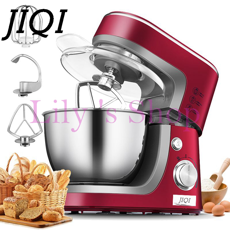 JIQI Electric chef mixing machine stand food cake egg dough bread mixer eggs beater food Home use commercal baking blender 3.5L genuine baking ingredients crystal bowl cake recipe powder food grade martha phosphorus food additives 1kg