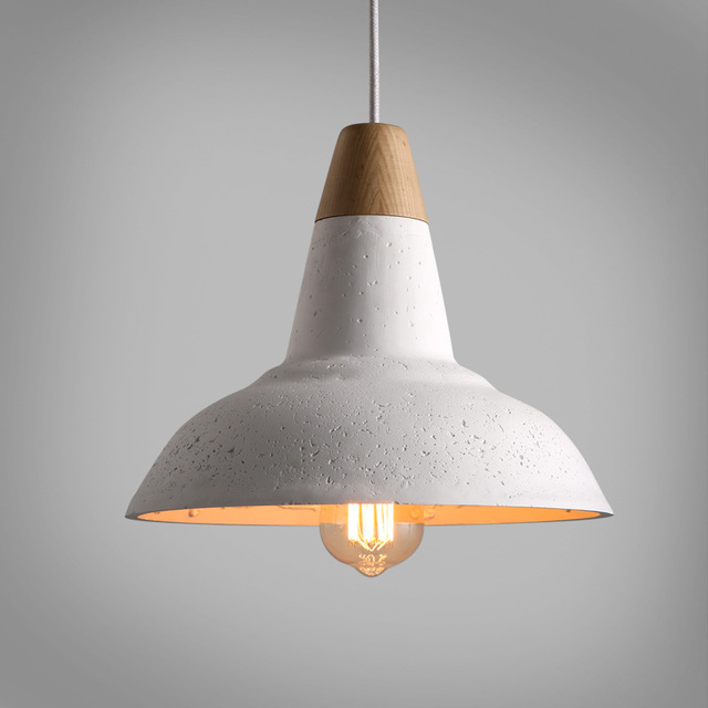 Nordic Loft White Cement Wood Led E27 Pendant Light For Dining Room Bar Bedroom Deco Dia 29.5cm Ac 80-265v 1374