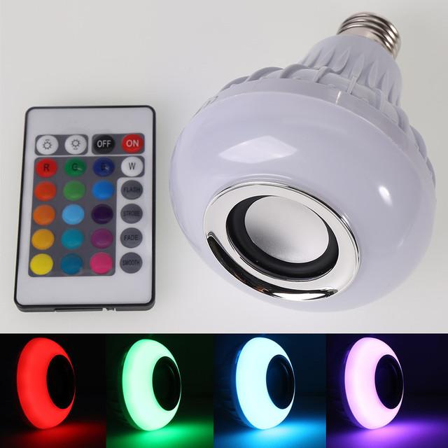 RGB CONDUZIU a Lâmpada E27 CONDUZIU a Iluminação da Lâmpada de Reprodução de Música Sem Fio Bluetooth Speaker com Controle Remoto