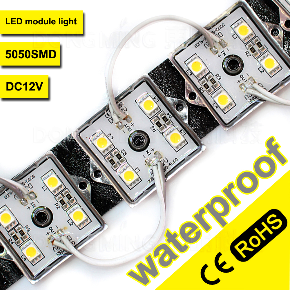 Led Lighting 500pcs/lot Led Modules 4leds Smd5050 Waterproof Ip65 Dc12v Iron Cover For Billboards Neon Signs Windows Light Boxes