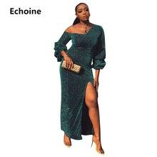 Women Sheer Mesh Off Shoulder Maxi Dress Transparent Elegant Party Dress Autumn Lantern Sleeve Split Vestidos Sexy Club Outfit цена 2017