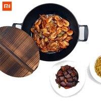 Xiaomi Mijia Cast Iron Wok Cooking Pot No Coating Non Stick Cookware Original Iron Pan Cooking Frying Pan Furnace Gas Cooker