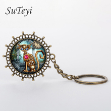 SUTEYI dome glass cabochon key chain Vintage Steampunk clock cat keychain for keys mechanical gear clock fractal keychain