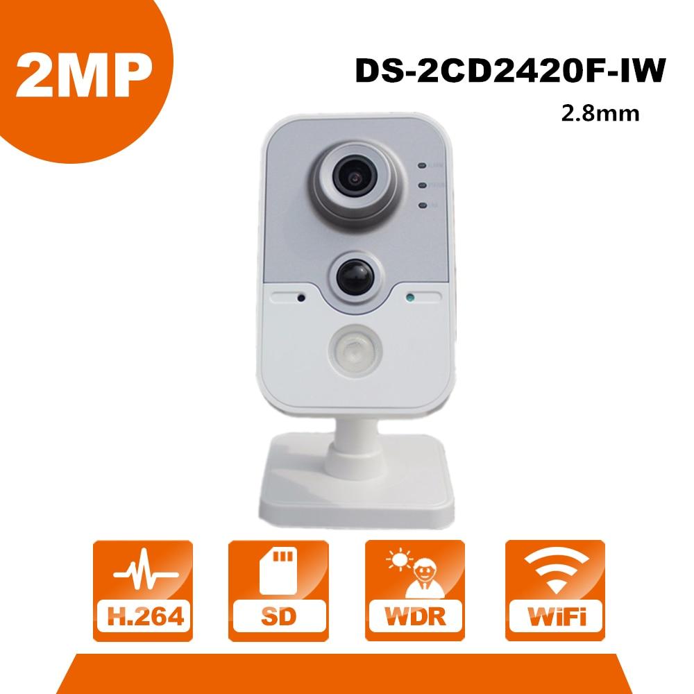 English Version HIK WiFi Camera DS-2CD2420F-IW 1080P Wi-Fi Home Security Camera 2MP IR Cube Network CCTV Cam Baby OEM IPC3412-W free shipping ds 2cd2442fwd iw english version 4mp ir cube network cctv security camera mini wifi ip camera poe 10m ir