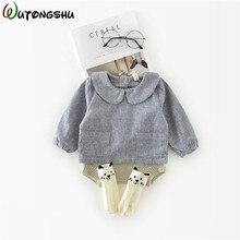 Блузка для малышей; одежда для маленьких девочек; осенние рубашки с длинными рукавами для девочек; повседневные рубашки с круглым вырезом для девочек; детская хлопковая верхняя одежда; топы