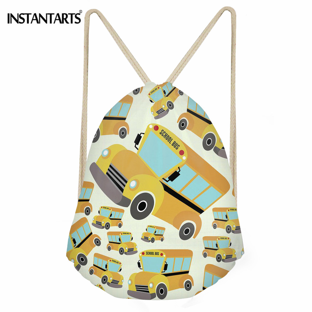 INSTANTARTS Cartoon School Bus Print Drawstrings Bag For Girls Boys Travel Beach Storage Softback Punch Pocket Backpack Children